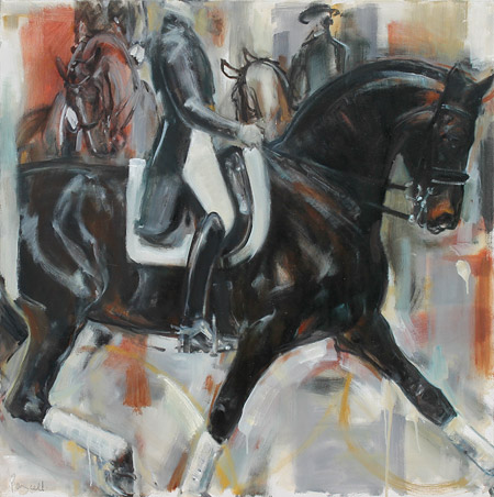 Rosemary Parcell bay exyension drive, horse painting, oil on canvas